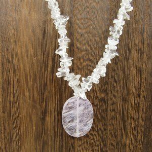 """Jewelry - 21"""" Clear Stone Chip Pendant Necklace Vintage"""